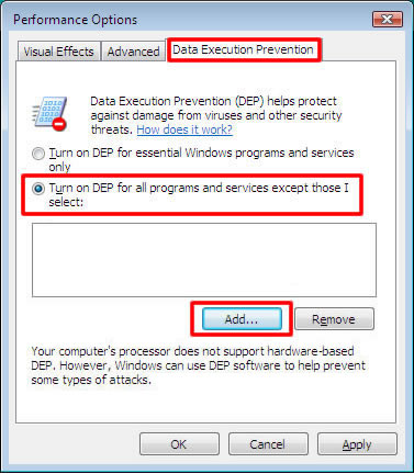 Change DEP settings for running Photo DVD Maker