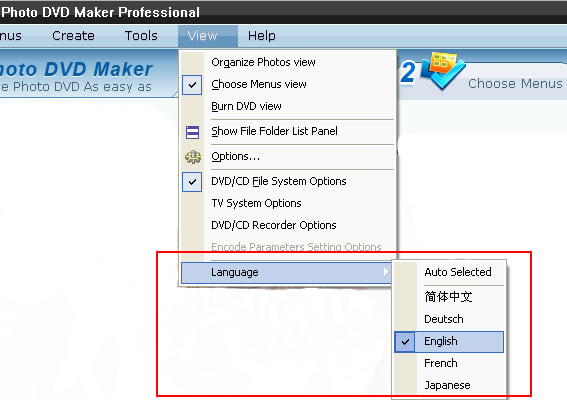 Choose your language for using the DVD slideshow software