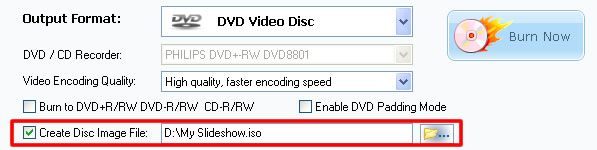 Export photo slideshow DVD to  disc image