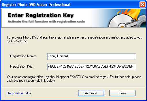 Enter your license code to register the photo album maker
