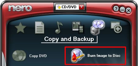 Burn disc image of slideshow DVD to disc